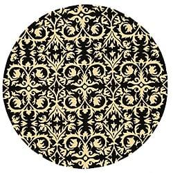 Hand-tufted 'Marla' Black Wool Rug (6' Round)