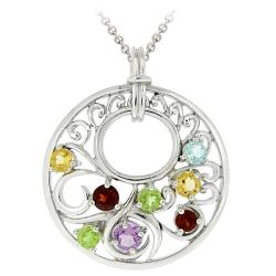 Glitzy Rocks Sterling Silver Multi-gemstone Medallion Necklace