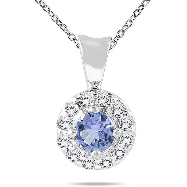Marquee Jewels 10k White Gold Tanzanite and 1/4ct TDW Diamond Necklace (I-J, I2-I3)