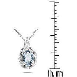 Marquee Jewels 10k White Gold Aquamarine Pendant - Thumbnail 2