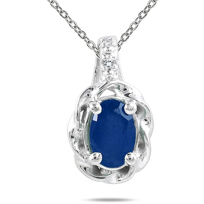 Marquee Jewels 10k White Gold Sapphire Necklace