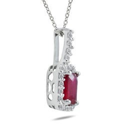 Marquee Jewels 10k White Gold Ruby and Diamond Accent Pendant - Thumbnail 1