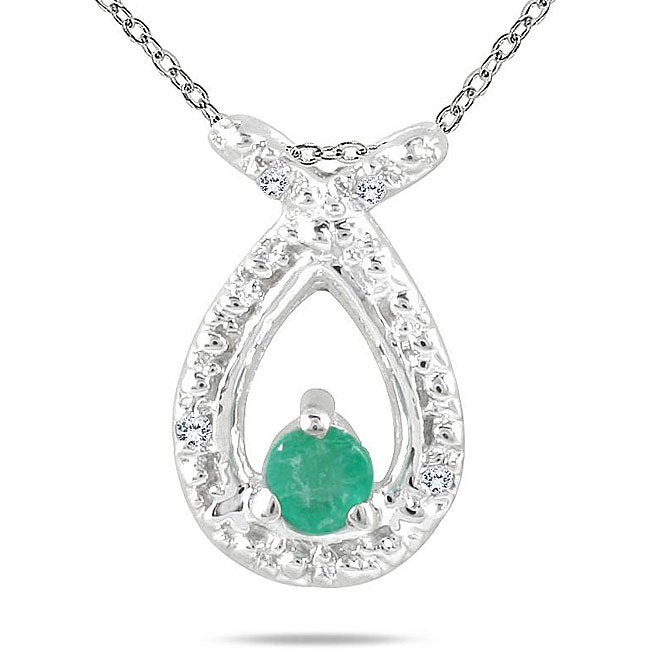Marquee Jewels 10k White Gold Emerald and Diamond Accent Necklace