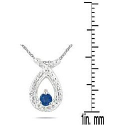Marquee Jewels 10k White Gold Sapphire and Diamond Accent Necklace