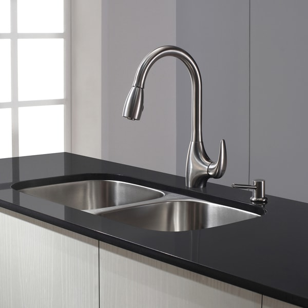 Kraus Kitchen Combo Set Stainless Steel Single-Lever Pullout Faucet