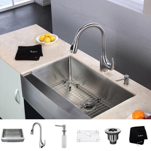 Kraus Kitchen Combo Set Stainless Steel Farmhouse Single Sink/Faucet