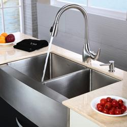 KRAUS 33 Inch Farmhouse Double Bowl Stainless Steel Kitchen Sink with Kitchen Faucet and Soap Dispenser in Stainless Steel