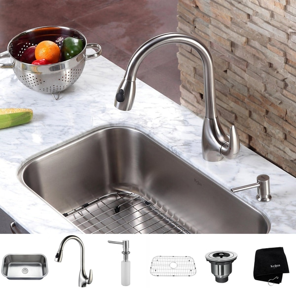 Kraus Kitchen Combo Set Stainless Steel Undermount 31.5 Sink/Faucet