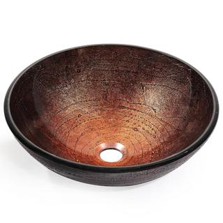 KRAUS Copper Illusion Glass Vessel Sink in Brown with Pop-Up Drain and Mounting Ring in Satin Nickel