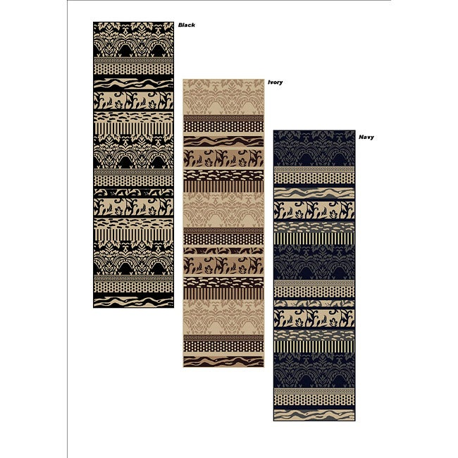Admire Home Living Impressions Classic Black Abstract Runner Rug (2'2 x 7'7)