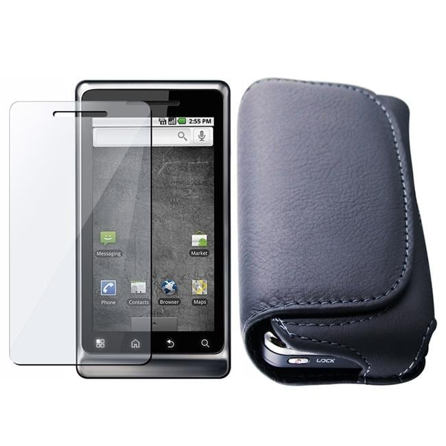 INSTEN Black Leather Phone Case Cover/ Screen Protector for Motorola A955 Droid 2
