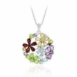 Glitzy Rocks Sterling Silver Multi-gemstone Flower Cluster Necklace