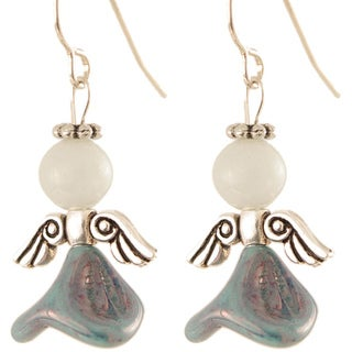 Silver 'Blessed Blues of Benevolence' Angel Earrings