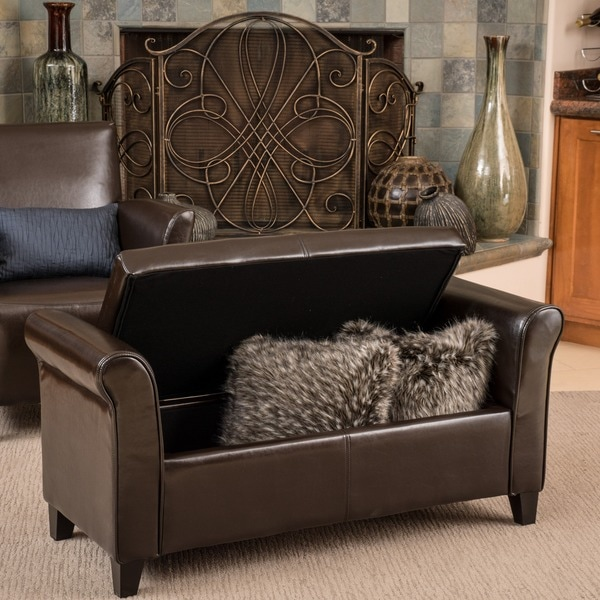 Torino Bonded Leather Brown Armed Storage Ottoman by Christopher Knight Home