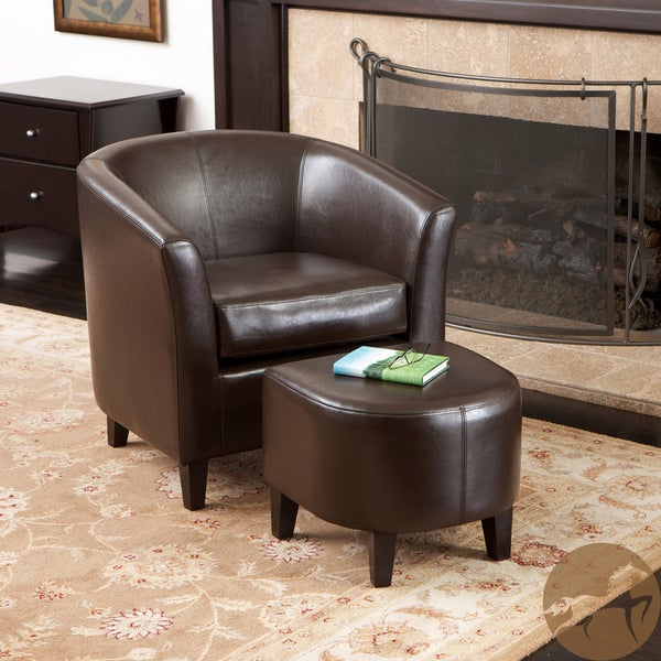 Preston Bonded Leather Brown Club Chair/ Ottoman Set by Christopher Knight Home