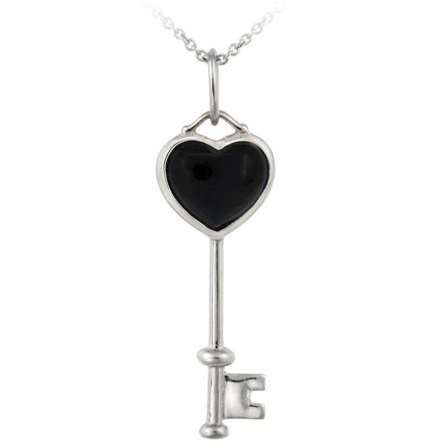 Glitzy Rocks Sterling Silver Onyx Heart Key Necklace - Thumbnail 0