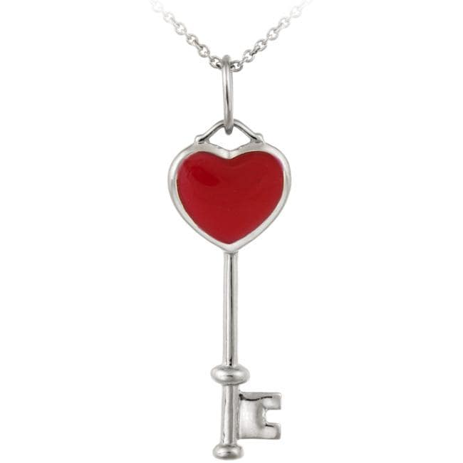Glitzy Rocks Sterling Silver Red Enamel Key Necklace