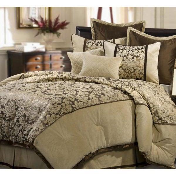 Cream Venzato 8-piece King-size Comforter Set