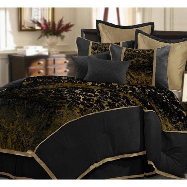 shop black venzato 8 piece king size comforter set free shipping today 5318350. Black Bedroom Furniture Sets. Home Design Ideas