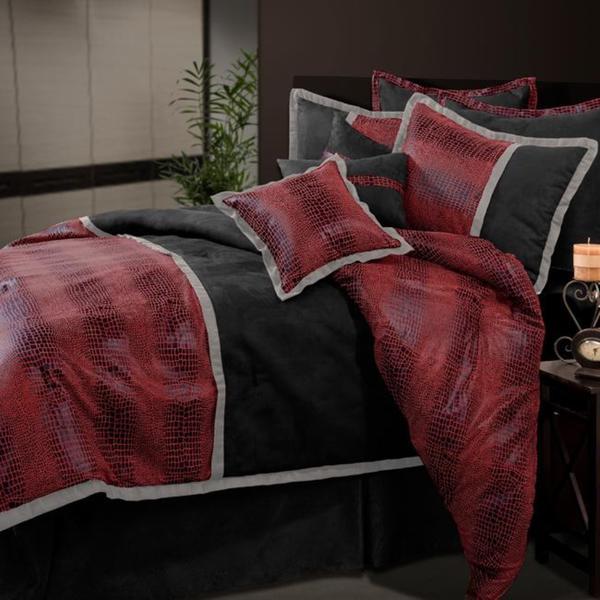 Red/ Black Chase King-size Comforter Set