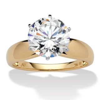 10K Yellow Gold Cubic Zirconia Solitaire Engagement Ring