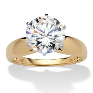 PalmBeach 3.50 TCW Round Cubic Zirconia 10k Gold Solitaire Bridal Engagement Ring Classic CZ