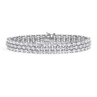"28.60 TCW Oval Cut Cubic Zirconia Sterling Silver Triple-Row Tennis Bracelet 8 1/2"" Glam C"