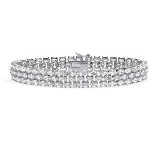 "28.60 TCW Oval Cut Cubic Zirconia Sterling Silver Triple-Row Tennis Bracelet 8 1/2"" Glam C"