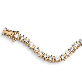 """5.75 TCW Round Cubic Zirconia 18k Gold over Sterling Silver Tennis Bracelet 8"""" Classic CZ"""