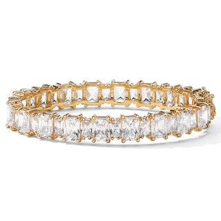 "36.50 TCW Emerald-Cut Cubic Zirconia 14k Yellow Gold-Plated Tennis Bracelet 7 1/2"" Glam CZ"