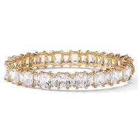 Yellow Gold-Plated Rectangular Shaped Tennis Bracelet Cubic Zirconia (36 1/2 cttw TDW)