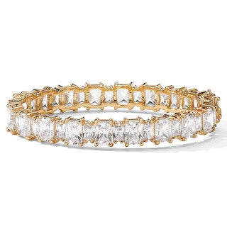 "36.50 TCW Emerald-Cut Cubic Zirconia 14k Yellow Gold-Plated Tennis Bracelet 7 1/2"" Glam CZ"