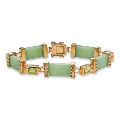 """3 TCW Peridot and Jade Bracelet in .925 Sterling Silver and Gold Tone Finish 8"""" Naturalist"""