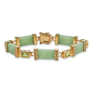 "PalmBeach 3 TCW Peridot and Jade Bracelet in .925 Sterling Silver and Gold Tone Finish 8"" Naturalist"