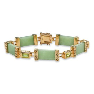 "3 TCW Peridot and Jade Bracelet in .925 Sterling Silver and Gold Tone Finish 8"" Naturalist"