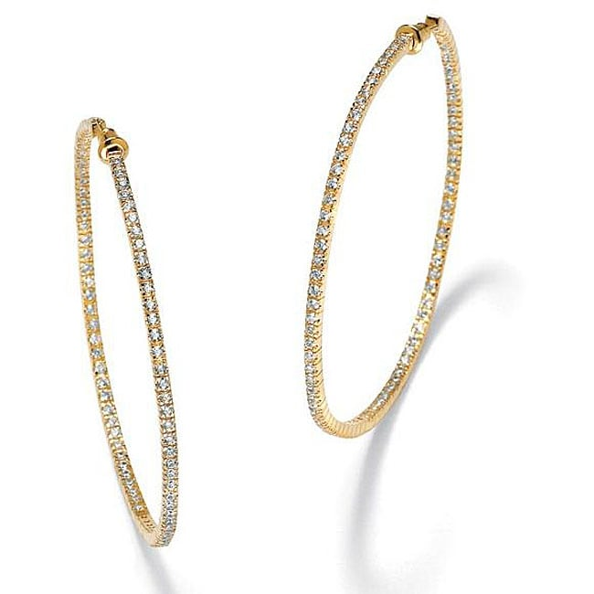 PalmBeach CZ Gold Overlay Clear Cubic Zirconia Hoop Earrings Glam CZ