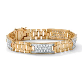 Men's 2.24 TCW Round Cubic Zirconia Bar-Link Bracelet in Yellow Gold Tone