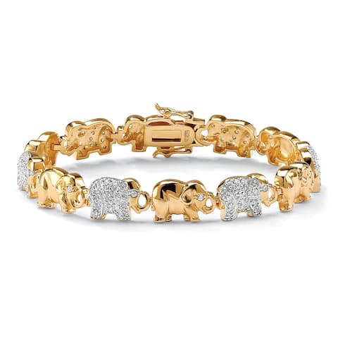 1.32 TCW Pave Cubic Zirconia Elephant Bracelet in 18k Gold over Sterling Silver Glam CZ