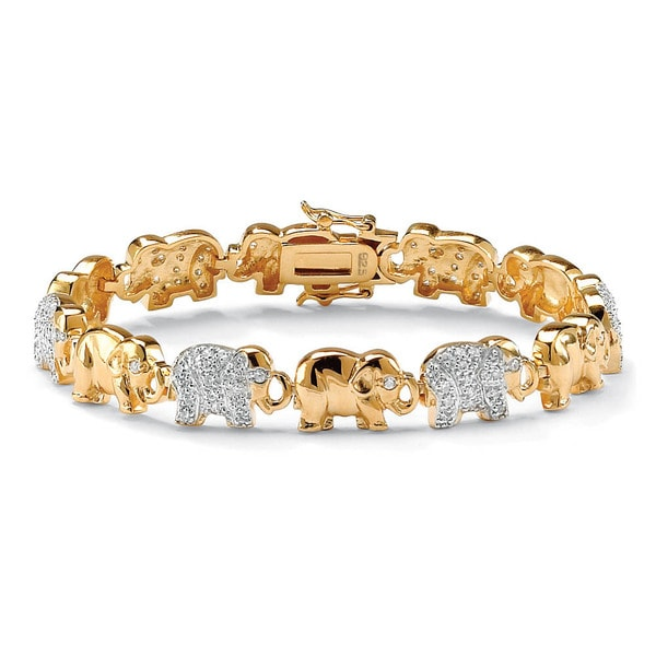 1 32 Tcw Pave Cubic Zirconia Elephant Bracelet In 18k Gold Over Sterling Silver Glam Cz