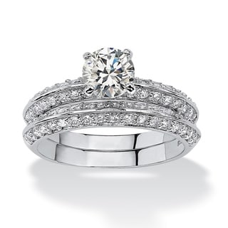 2 Piece 2.10 TCW Round Cubic Zirconia Bridal Ring Set in Platinum over Sterling Silver Cla