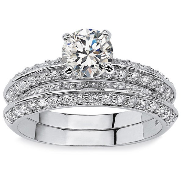 PalmBeach 2 Piece 2.10 TCW Round Cubic Zirconia Bridal Ring Set in Platinum over Sterling Silver Classic CZ