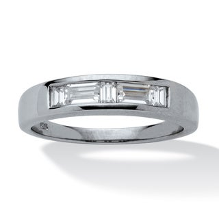 Men's .98 TCW Baguette-Cut Cubic Zirconia Wedding Ring in Platinum over Sterling Silver Si