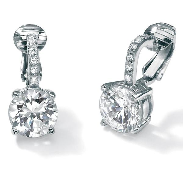 fa07decee Shop 6.18 TCW Round Cubic Zirconia Clip-On Drop Earrings in Platinum over .925  Sterling Silver - On Sale - Free Shipping On Orders Over $45 - Overstock -  ...