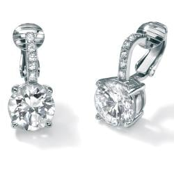 6.18 TCW Round Cubic Zirconia Clip-On Drop Earrings in Platinum over .925 Sterling Silver