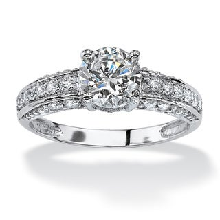 1.80 TCW Round Cubic Zirconia Engagement Anniversary Ring in 10k White Gold Classic CZ