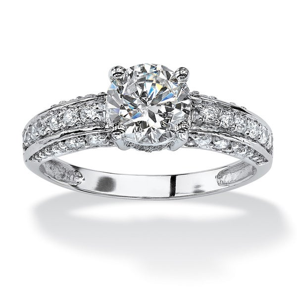 PalmBeach 1.80 TCW Round Cubic Zirconia Engagement Anniversary Ring in 10k White Gold Classic CZ