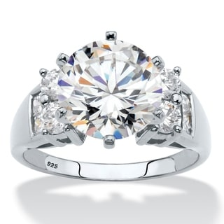 4.66 TCW Round Cubic Zirconia Engagement Anniversary Ring in 10k White Gold Glam CZ