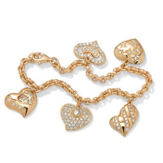 1.48 TCW Cubic Zirconia Heart Charm Bracelet in Yellow Gold Tone Glam CZ