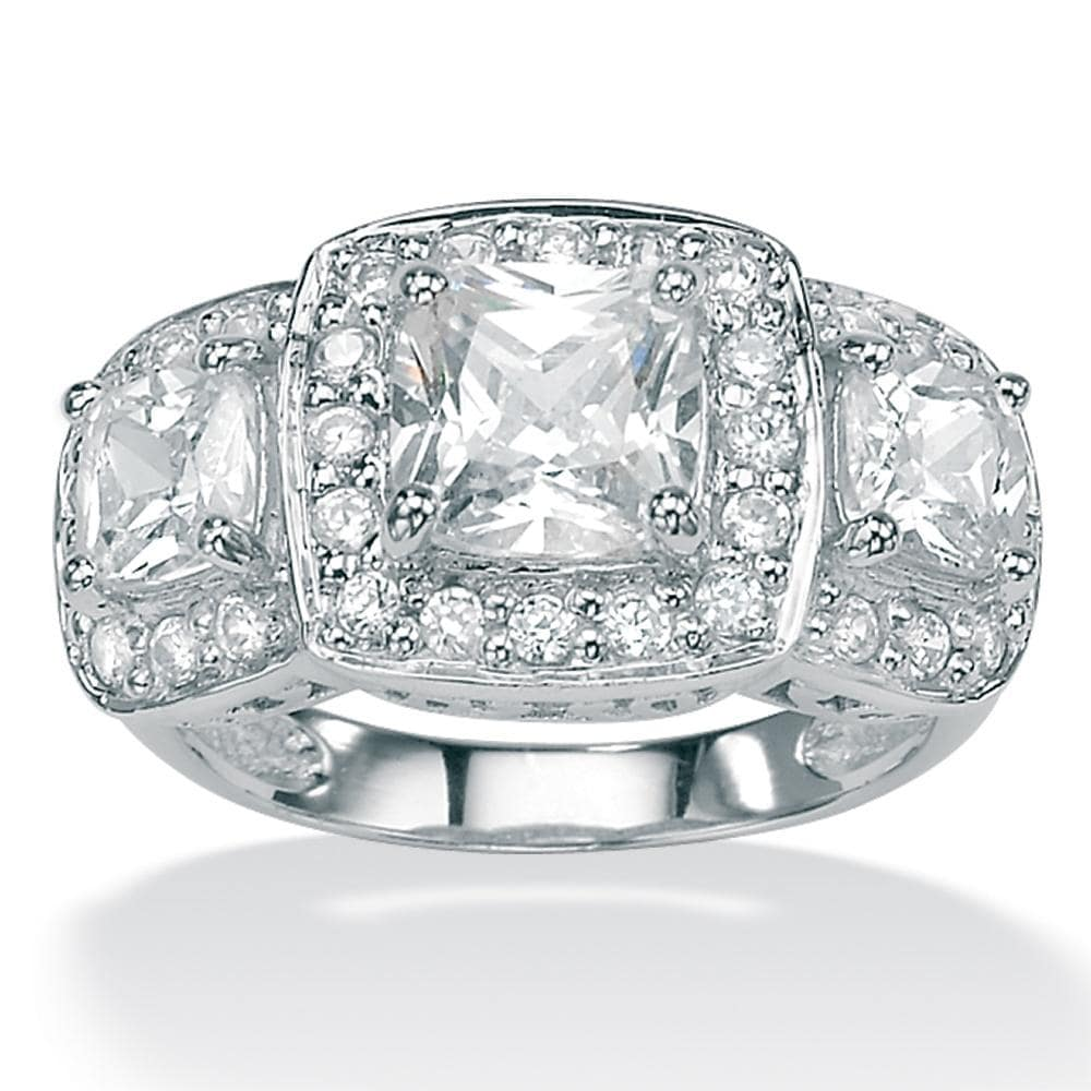 2.90 TCW Cushion-Cut and Round Cubic Zirconia Platinum over Sterling Silver 3-Stone Engage