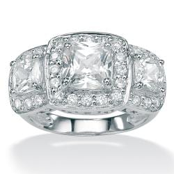 2.90 TCW Cushion-Cut and Round Cubic Zirconia Platinum over Sterling Silver 3-Stone Engage - Thumbnail 1